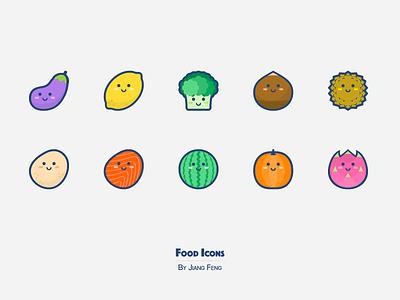 Food Icons 03 eggplant lemon durian watermelon pumpkin potato vegetables fruit food icon
