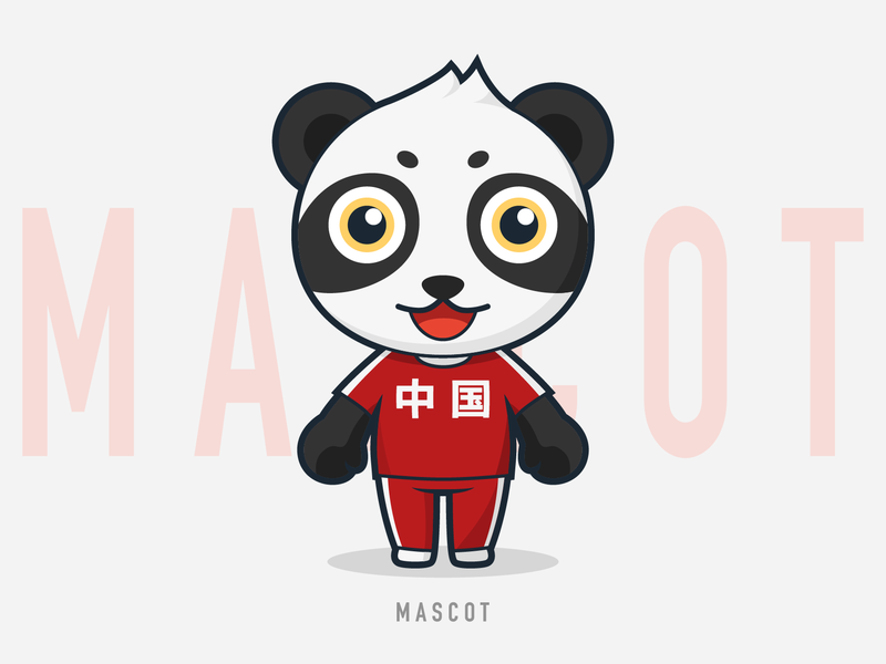 Mascot 04 lovely animal red sport china panda mascot character illustration