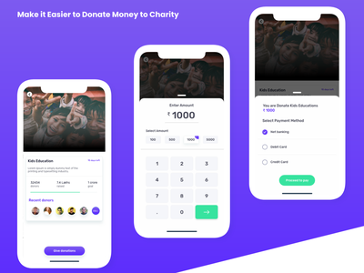 Donate Money to Charity ux design akashmishra ui app ui design money donate uiux