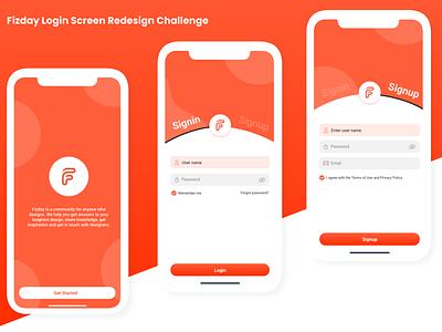 Fizday Login Screen Redesign Challenge designer interaction ux design ui uxdesign uxui logo login akashmishra uiux ux