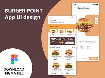 Burger Point App Design order food burger app figma app ux ui design burger app design