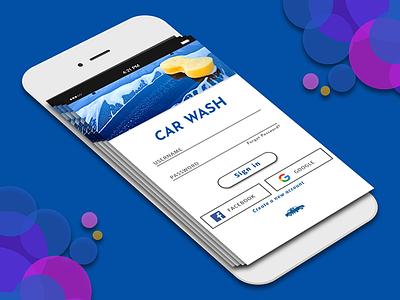 CAR WASH LOGIN PAGE loginpage carwash app design uiux
