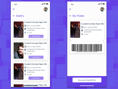 Events and my tickets xd my tickets events app design uiux