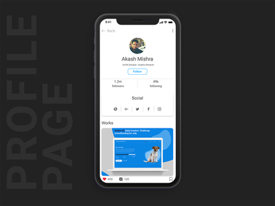 Profile Page akashmishra app ui  ux design profile design ux ui