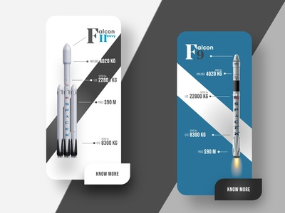 Space X - Falcon Rockets Info Mobile UI Design