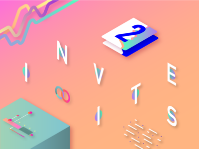 x2 Dribbble Invites 3d isometric cards player illo robot palette graphic illustration data dataviz invites