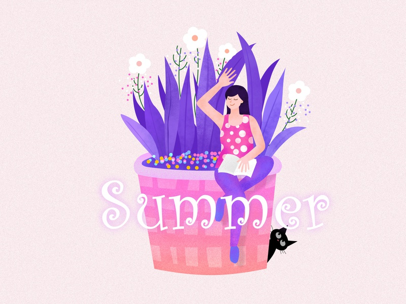 Lady Summer flatillustration flatdesign illustraion lady summer cutegirl girl
