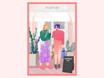 Street photo cafe girls flat illustration illustration streetphoto