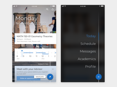 Student Mobile App Home Screen And Navigation mobile navigation visual design ux design ui design product design mobile design