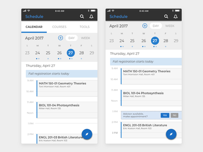 Student Mobile App Schedule visual design ux design ui design product design mobile design schedule calendar