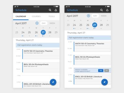 Student Mobile App Schedule visual design ux design ui design product design mobile design schedule calendar