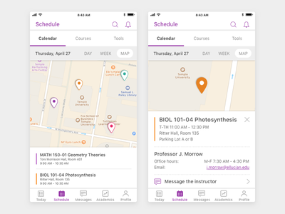 Student Mobile App Class Locator visual design ux design ui design product design mobile design