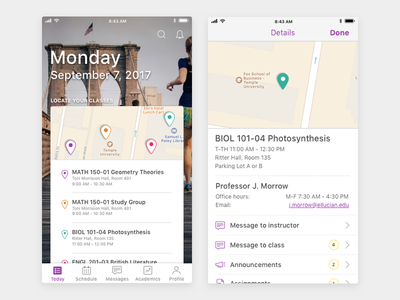 Student Mobile App Class Locator v2 visual design ux design ui design product design mobile design