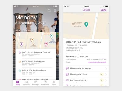 Student Mobile App Class Locator v2 visual design ux design ui design product design mobile design