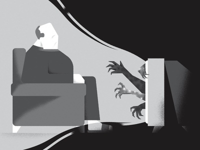 The TV Produces Monsters andrea rubele illustration illustrator sofa man tv monsters