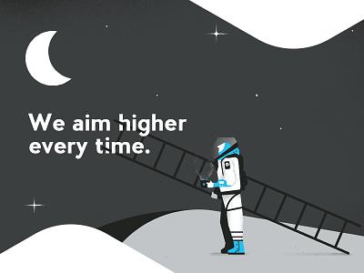 We aim higher every time. spaceman caffeinaxdcontest graphic design illustration