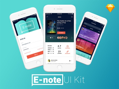 Free UI Kit - E-Note App Concept For Sketch