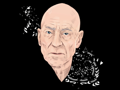 Admiral Jean Luc Picard star trek portrait editorial illustration drawing illustration