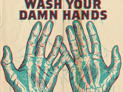 WASH YOUR DAMN HANDS digital procreate xray drawing illustration