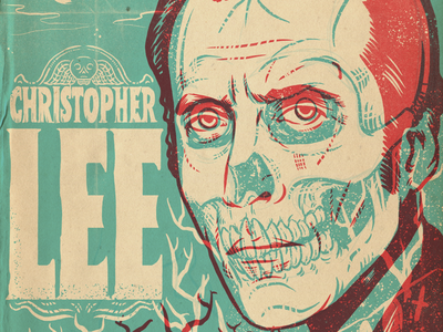 Christopher Lee monsters portrait procreate horror art illustration