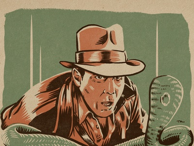 SNAKES! Really digging working on these. vintage design indiana jones procreate portrait drawing illustration