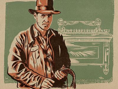 Indiana Jones vintage art indiana jones procreate design portrait drawing illustration
