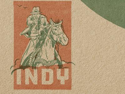 Indy Stamp adventure design portrait drawing illustration vintage design indiana jones