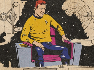 Captain Kirk vintage illustration vintage design procreate portrait drawing illustration kirk star trek