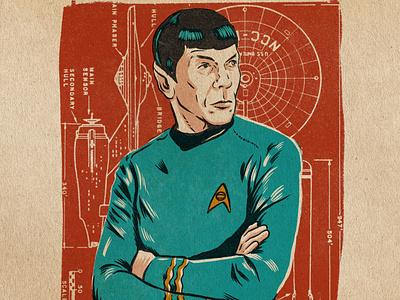 Spock vintage design procreate portrait illustration sci-fi