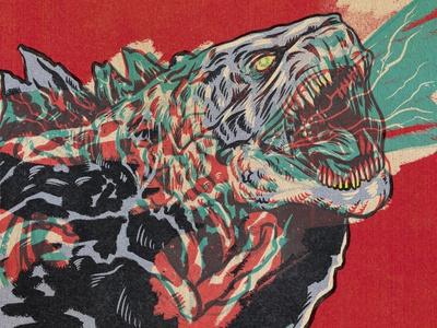 Godzilla godzilla horror creature xray design procreate monsters portrait drawing illustration
