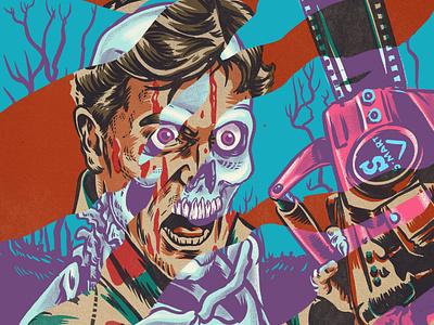 Ash Vs Deadite horror zombie evil dead xray creature procreate monsters portrait drawing illustration