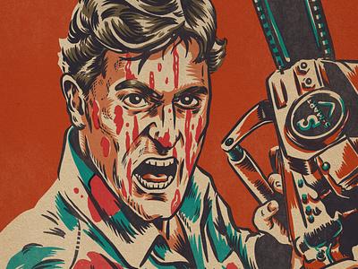 Slashy Ashy! (Ash Williams) zombie horror art evil dead procreate monsters portrait drawing illustration