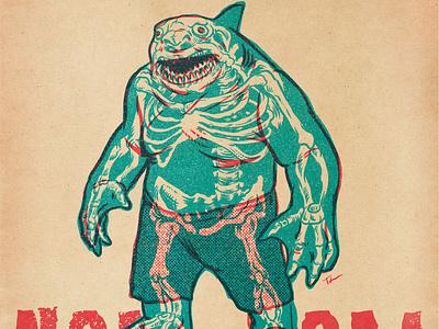 KING SHARK- NOM NOM sharks comics dc comics procreate drawing illustration