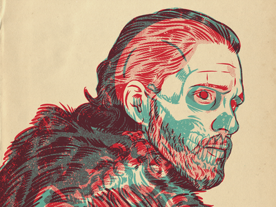 Jon Snow design gig poster xray portrait drawing illustration
