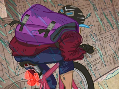 """""""When you're wet you just start to enjoy it."""" cycling bike bicycle illustration"""