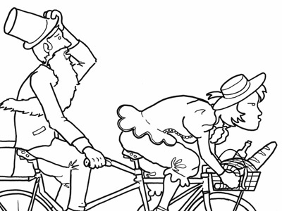 Tandem Racer tandem bike bicycle drawing illustration picnic pen and ink black and white