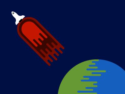 Blastoff rocket earth space