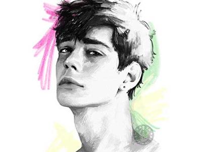 Boy 03 dessin green pink illustration boy man drawing pencil portrait