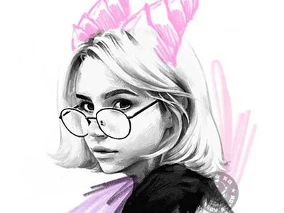 Girl 04 pencil drawing pencil dragonblack and white pink portrait girl illustration dessin