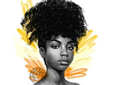 Girl 05 drawing pencil drawing pencil portrait orange yellow afro girl black and white illustration dessin
