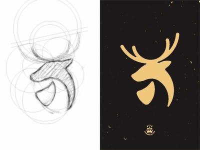 Graphic Design 15 - Cerf illustration rounded logo stage logo hart logo deer logo concept circle logo animal hart stag deer cerf