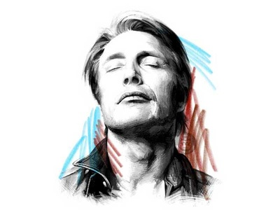 Mads Mikkelsen black and white color pencil illustration drawing pencil drawing movie actor portrait mikkelsen mads mads mikkelsen