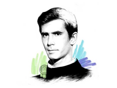 Anthony Perkins green blue color pencil black and white pencil drawing pencil illustration portrait actor movie cinema hitchcock psychose anthony perkins
