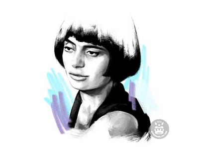 Agnès Varda purple blue color pencil pencil drawing pencil illustration drawing portrait film movie cinema réalisatrice varda agnès agnès varda