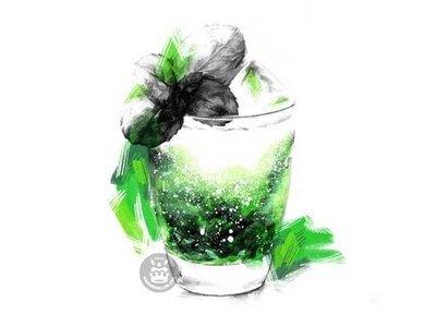 Tchin Tchin green color pencil drawing pencil drawing pencil illustration glass drink cocktail mojito