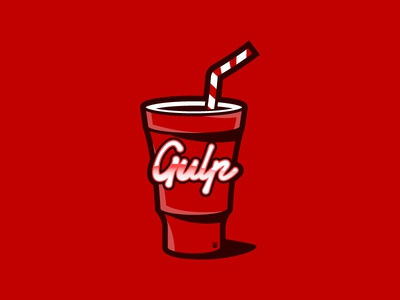🥤 Graphic Design 17 - Gulp.js Logo Redraw redesign front-end web js soda redraw logo cup red milkshake cola gulp