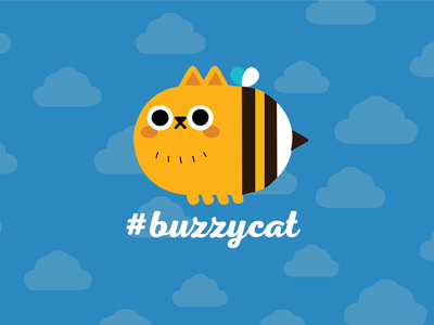 Buzzycat poster logo collage bee buzzy cat illustration vector