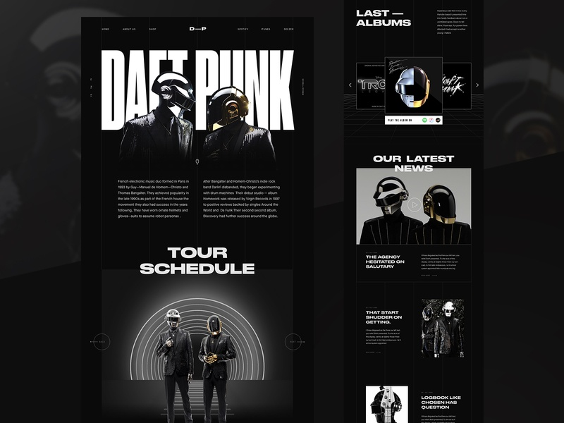 Daft Punk Website concept visual design black and white modern layout bold music dark ui futuristic homepage fashion landing page creative typography web design interface minimal clean ui design ux