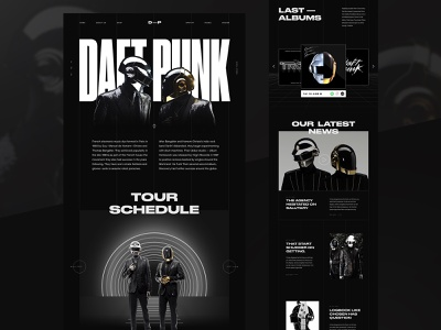 Daft Punk Website concept visual design black and white modern layout bold music dark ui futuristic homepage fashion landing page creative typography web design interface minimal clean ui design ux