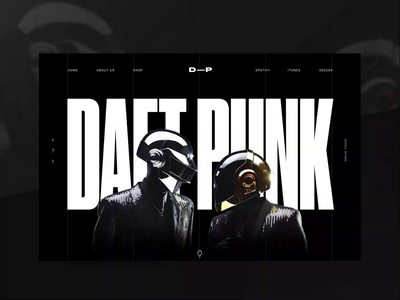 Daft Punk Website concept motion design black  white home page music visual design layout landing page dark futuristic interaction animation website creative typography web design interface minimal clean ui ux